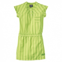 Jack Wolfskin Girls Airy Summer Dress fresh lemon stripes - Größe 128 Kinder A1603871